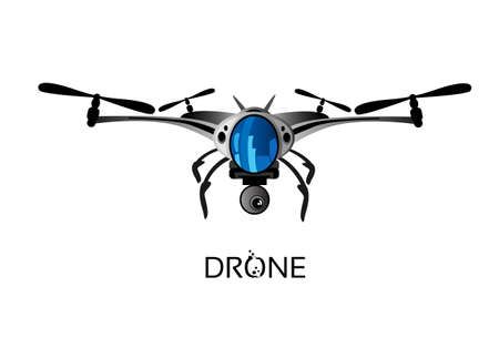 unmanned: Drone Flying Air Quadrocopter Isolated Logo Icon Vector Illustration Illustration