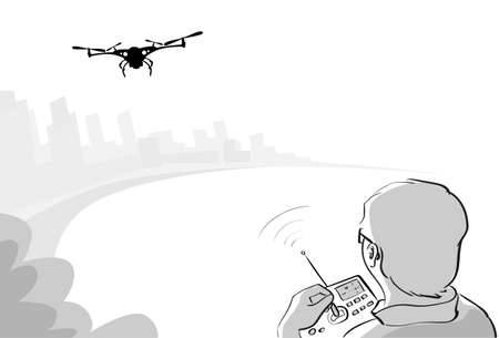 man in air: Man Silhouette Control Drone Flying Air Quadrocopter Park Sketch Gray Vector Illustration