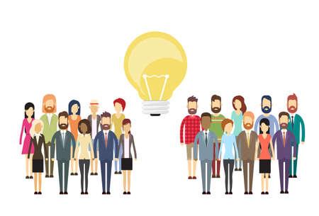 Idea Business People Group Concept žárovky, Podnikatelé dav s plochou silueta plné délky vektorové ilustrace Ilustrace