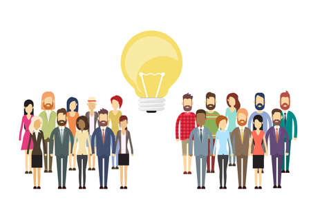 Business People Group Idea Concept Light Bulb, Businesspeople Crowd Flat Silhouette Full Length Vector Illustration