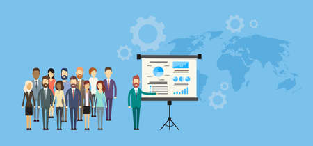 Business People Group Presentation Flip Chart Finance, Businesspeople Team Training Conference Meeting Flat Vector Illustration