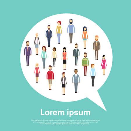 La gente di affari raggruppa il concetto di comunicazione di forma della bolla di chiacchierata, persone di affari che parlano l'illustrazione piana di vettore della rete sociale Vettoriali