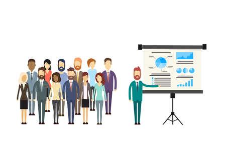 Business People Group Presentation Flip Chart Finance, Businesspeople Team Training Conference Meeting Flat Vector Illustration Illustration
