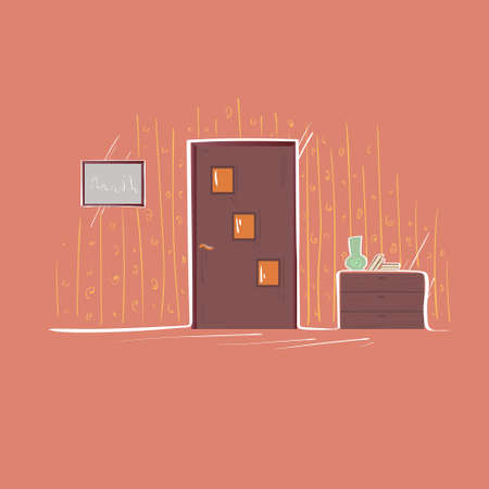 apartment living: Door Entrance Apartment Living Room Flat Thin Line Vector Illustration Illustration