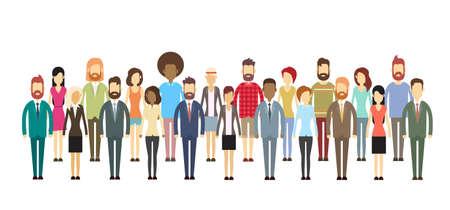 grupos de personas: Grupo de hombres de negocios enorme muchedumbre empresarios mezcla étnica Ilustración vectorial Flat Vectores