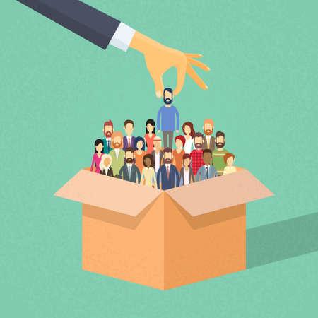 Recruitment Hand Pflücken Eine Person Candidate von Box People Group Geschäftsleute Human Resources Crowd Wohnung Vector Illustration