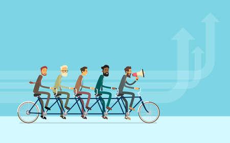 Ilustración de negocios personas Grupo Montar en bicicleta Trabajo en equipo del concepto de vector Ilustración de vector