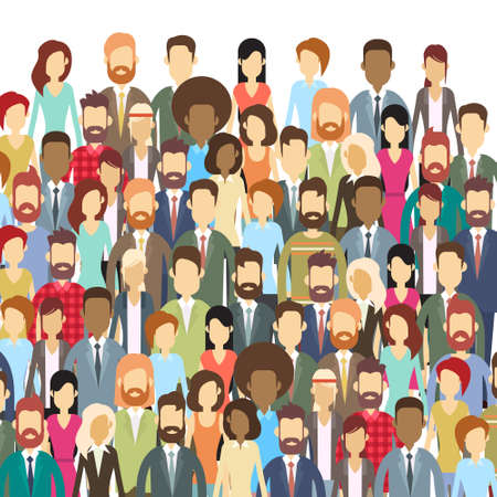 Group of Business People Face Big Crowd Businesspeople Flat Vector Illustration