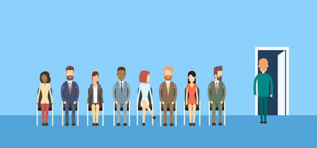 flat line: Business People Group Sitting In Line Queue Door Flat Vector Illustration