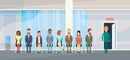 Business People Group in de lijn zit Queue Deur Flat Vector Illustration