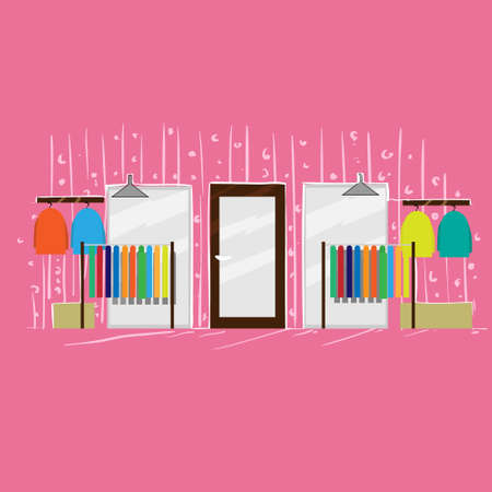 clothing store: Clothing Store Fashion Boutique Interior Pink Shop Flat Vector Illustration