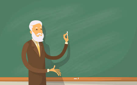 lecture hall: University Professor Lecture College Teacher at Classroom, Stand Over Green Board Holding Chalk Flat Vector Illustration Illustration