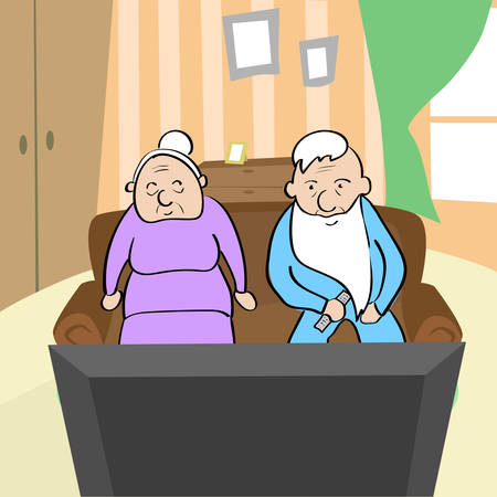 older couple: Old Couple Watching TV Senior Man and Woman Sitting On Sofa Home Vector Illustration