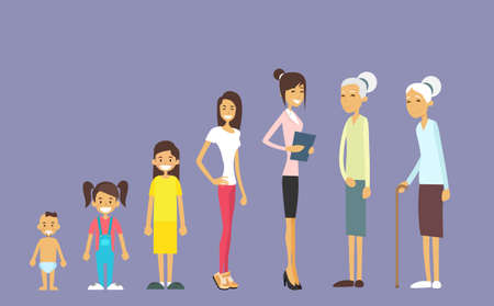Generation Of Women From Infant To Senior, Age Concept Vector Illustration