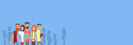 Ilustración grupo de alumnos Las personas que sostienen los libros de Educación Banner plana vectorial Ilustración de vector