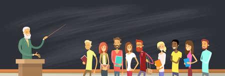 jovenes estudiantes: Con el grupo de alumnos de la pizarra con el profesor, la ilustraci�n de la Universidad de Profesor de Educaci�n del indicador del vector Vectores