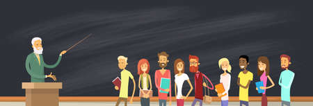 Student Group Over Blackboard With Professor, University Lecturer Education Pointer Vector Illustration Illustration