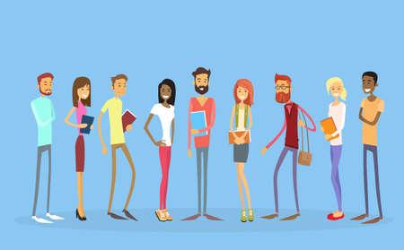 Ilustracja Student Grupa ludzi trzymających Książki Edukacja płaskim Wektor Ilustracje wektorowe