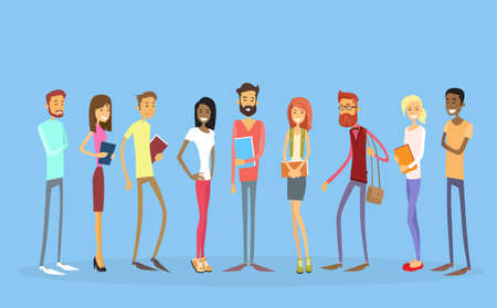 Student Group People Holding Books Education Flat Vector Illustration