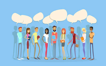 Students Group People Chat Bubble Social Network Communication Young Man Woman Full Length Stand In Line Flat Vector Illustration Illustration