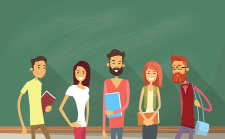 Student Group Over Green Blackboard Holding Books University Education Flat Vector Illustration