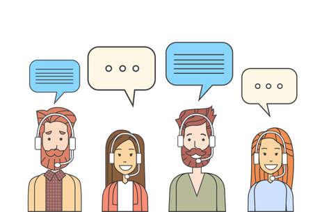 Operatori della call center squadra, Uomo Donna Assistenza Clienti Persone Group Chat Bubble illustrazione internet comunicazione sottile linea vettoriale Archivio Fotografico - 52029471