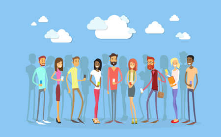 length: Students Group With Smart Cell Phone Social Network Communication Concept Full Length Flat Vector Illustration Illustration