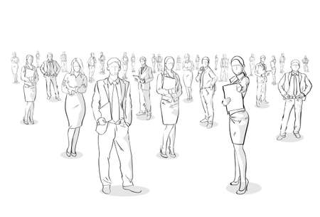 Group Of Hand Drawn Business People, Sketch Businesspeople Vector Illustration Vettoriali