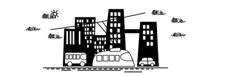 industry icons: Big Modern City View Sketch Simple Line  Vector Illustration