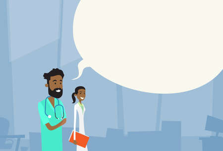 chat box: African American Medial Doctors Team Man Woman With Copy Space Chat Box Hospital Vector Illustration