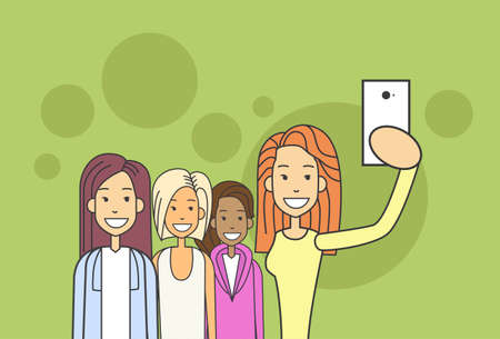 smart phone woman: Woman Group Taking Selfie Photo On Smart Phone Vector Illustration