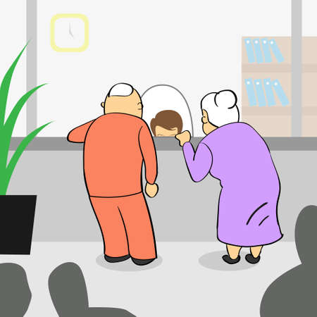 older couple: Old Couple In Bank, Senior Man Woman Payment Teller Cashier Window Vector Illustration