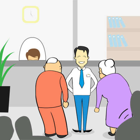 bank manager: Old Couple In Bank Office, Senior Man Woman With Assistant Manager Help Vector Illustration Illustration