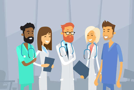 Group Medial Doctors Team Hospital Vector Illustration
