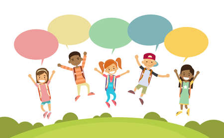 cartoon bubble: Children Happy Smile Group Jump Colorful Chat Box Park Outdoor Flat Vector Illustration Illustration