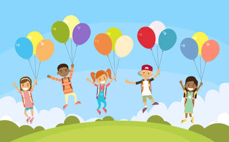 little child: Children Group Fly on Colorful Balloons Outdoor Park Flat Vector Illustration