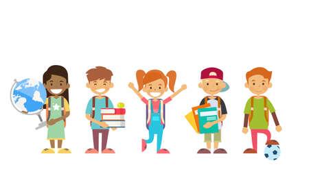 De schoolkinderen groeperen Holdingsbol, Boeken, Voorbeeldenboeken Vlakke Vectorillustratie