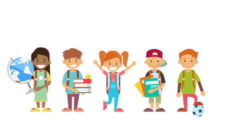 School Children Group Holding Globe, Books, Copybooks Flat Vector Illustration Vectores