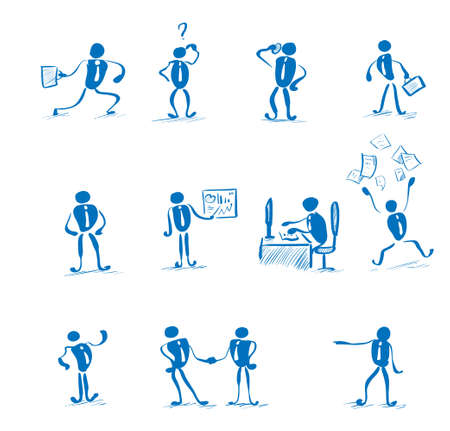 daily routine: Business Man Working Set Daily Routine Hand Draw Simple Line Vector Illustration Illustration