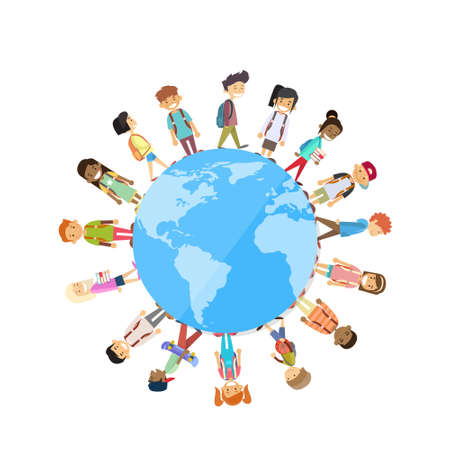 small world: Children Group Standing Around Globe World Unity Concept Vector Illustration