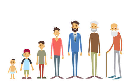 Generation Of Men From Young Infant To Old Senior Age Concept Vector Illustration Illustration