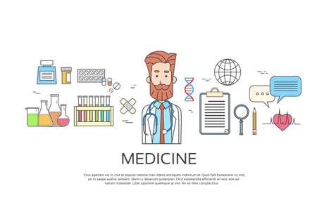 male portrait: Medical Doctor Icon Male Portrait Medicine Banner Thin Line Vector Illustration