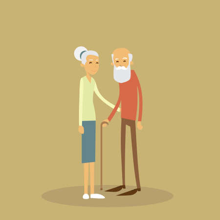 elderly care: Old Couple Senior Man Woman Stand With Stick Flat Vector Illustration