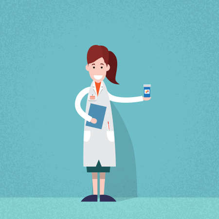doctor holding pills: Professional Medical Doctor Woman Pharmacist Hold Pills Flat Vector Illustration