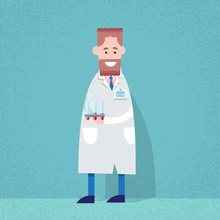 scientist man: Medical Doctor Scientist Man Hold Flask Bottle With Chemicals Flat Vector Illustration