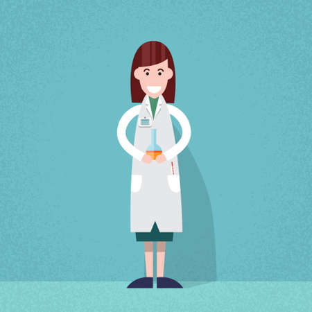 scientist woman: Medical Doctor Scientist Woman Hold Flask Bottle With Chemicals Flat Vector Illustration