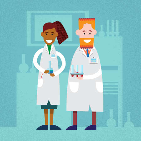 scientist woman: Doctors Scientist Man Woman In Laboratory Hold Test Tube Flask Bottle Flat Vector Illustration Illustration