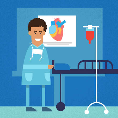 operative: African American Doctor In Operating Surgery Room Heart Flat Vector Illustration Illustration