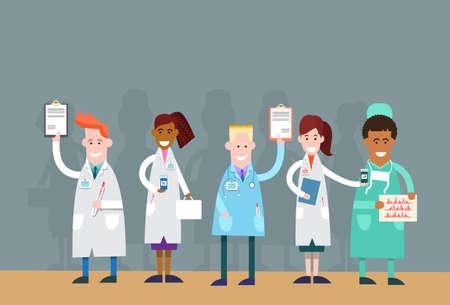 intern: Group Medial Doctors Team Holding Analysis Result Vector Illustration