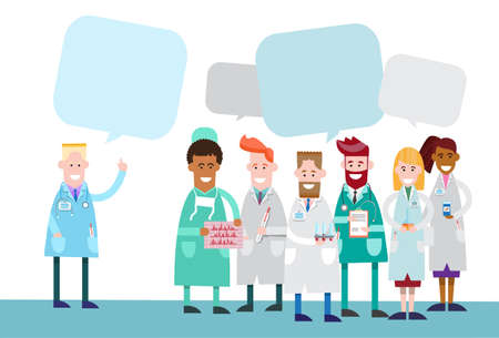 group discussions: Group Medial Doctors Team Work With Copy Space Chat Bubble Vector Illustration